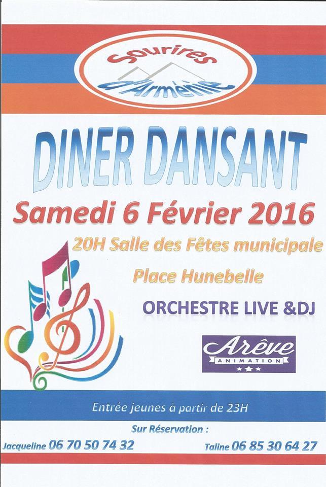 Dîner dansant Sourires d'Arménie 06-02-2016