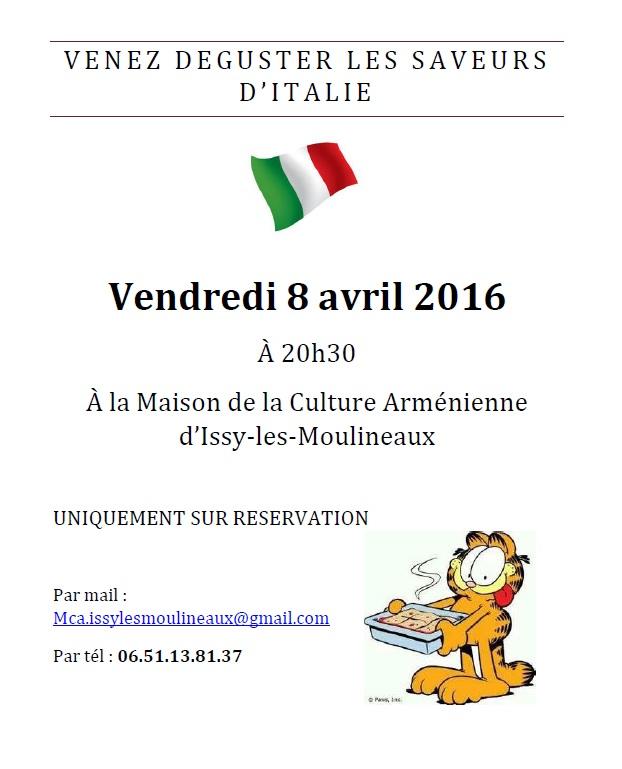 Dîner Italien le 8 avril 2016