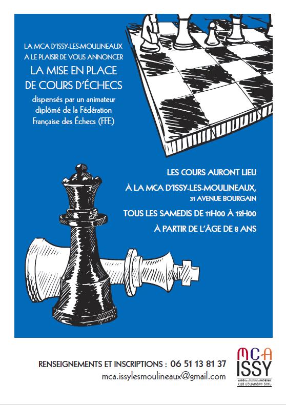 Cours d'Echecs à la MCA d'Issy-les-Moulineaux